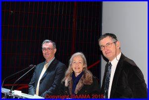 Catherine Loubet entourée à gauche d'Alain Rolland et à droite de Jacques Calcine. Les deux ont volé sur Transall
