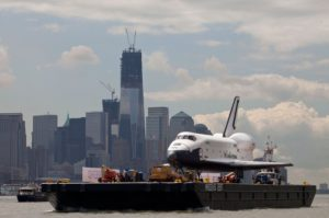 Enterprise, OV-101, barge, New York Harbor
