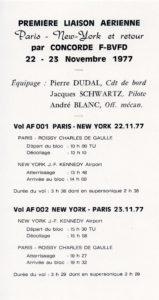 Premier vol New York - Paris, 1977