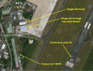 Concorde, position du tronçon F-BVFD, vue aérienne, Dugny, Bourget